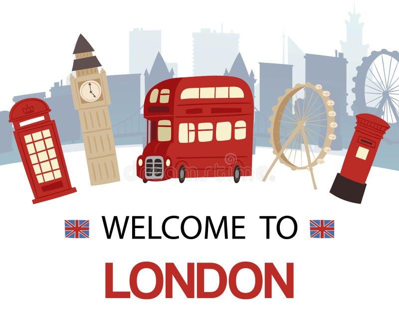 Χαιρετίστε στο έμβλημα της Αγγλίας τη διανυσματική απεικόνιση Οι θέες τουριστών του Λονδίνου και τα σύμβολα της Μεγάλης Βρετανίας απεικόνιση αποθεμάτων