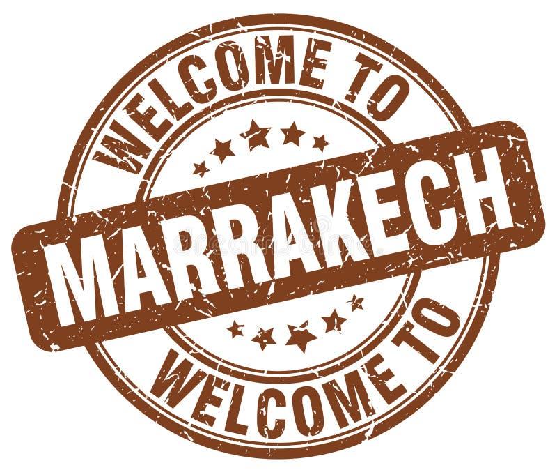Χαιρετίστε στο Μαρακές το καφετί στρογγυλό γραμματόσημο απεικόνιση αποθεμάτων