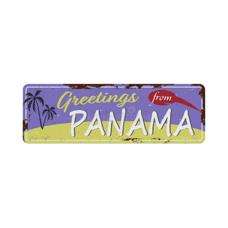 Χαιρετισμοί από την επιγραφή Panama Vintage metal με κείμενο ή γραφικά Πλακέτα κασσιτέρου με σκουριασμένο εφέ απεικόνιση αποθεμάτων