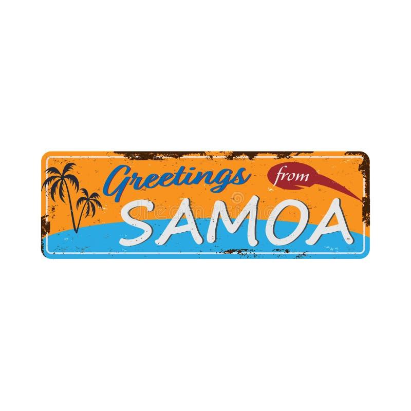 Χαιρετισμοί από τη Σαμόα και τη μεταλλική επιγραφή Vintage με κείμενο ή γραφικά Πλακέτα κασσιτέρου με σκουριασμένο εφέ απεικόνιση αποθεμάτων