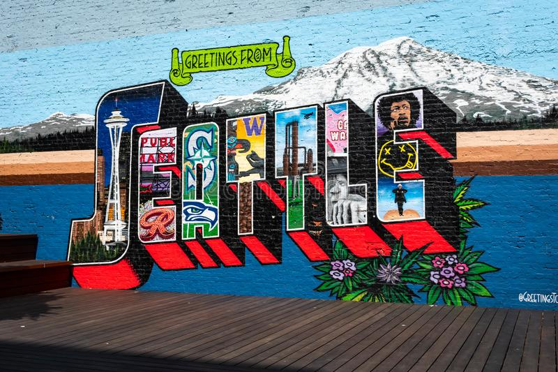 Χαιρετισμοί τέχνης οδών στο στο κέντρο της πόλης Σιάτλ Ουάσιγκτον στοκ φωτογραφίες με δικαίωμα ελεύθερης χρήσης