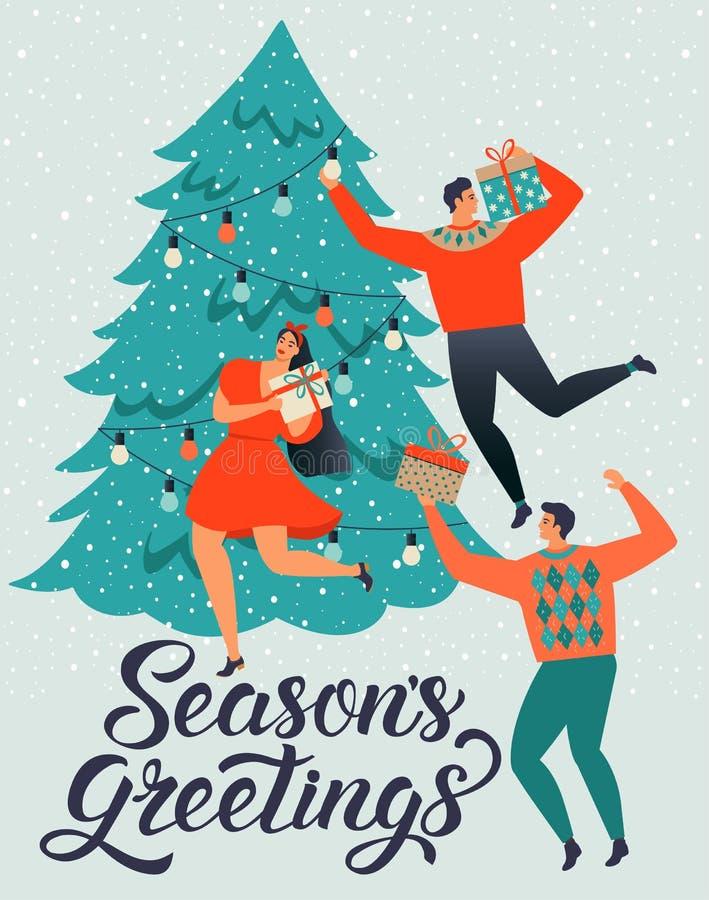 ΧΑΙΡΕΤΙΣΜΟΙ ΕΠΟΧΩΝ Άνδρες και οι γυναίκες ανθρώπων οι νεαροί διακοσμούν ένα χριστουγεννιάτικο δέντρο απεικόνιση αποθεμάτων