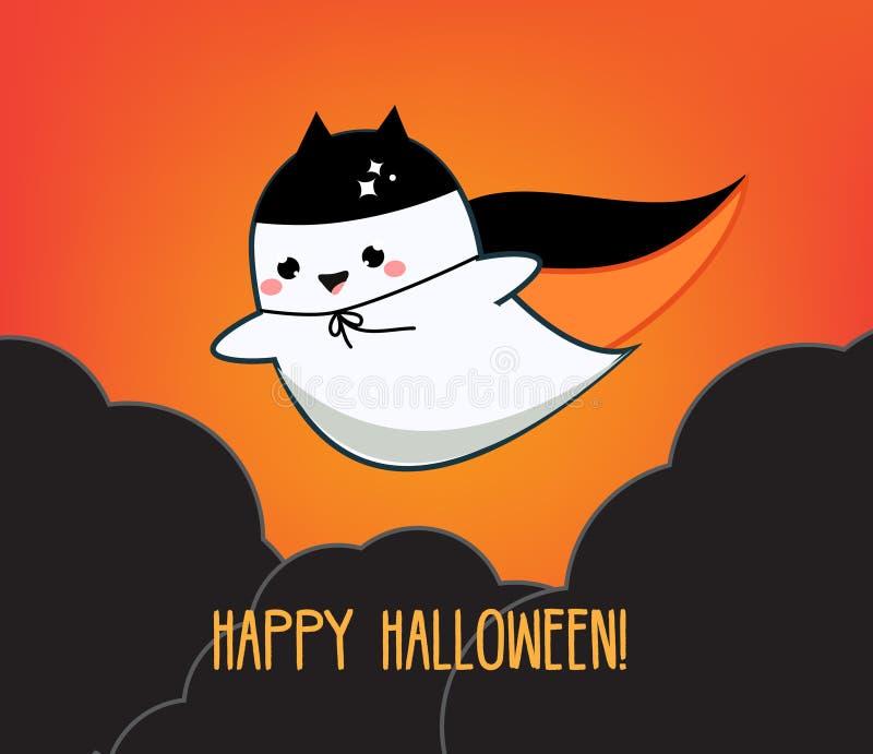 χαιρετισμός αποκριές κα&rho Έμβλημα διακοπών με το χαριτωμένο φάντασμα kawaii που πετά στο νυχτερινό ουρανό απεικόνιση αποθεμάτων