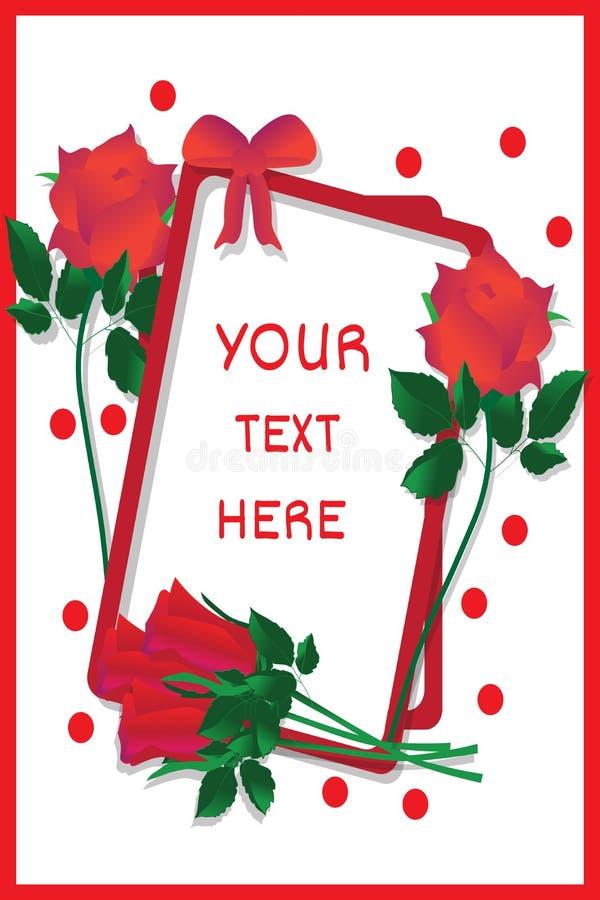 Χαιρετισμός-κάρτα-με-φωτεινός-κόκκινος-τριαντάφυλλα διανυσματική απεικόνιση