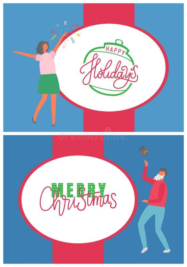 Χαιρετισμός και εορτασμός Χαρούμενα Χριστούγεννας διακοπών διανυσματική απεικόνιση
