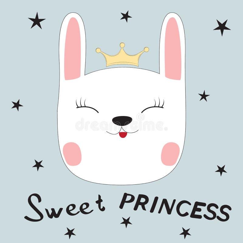 χαιρετισμός καλή χρονιά καρτών του 2007 Χαριτωμένη γλυκιά πριγκήπισσα λαγουδάκι ελεύθερη απεικόνιση δικαιώματος