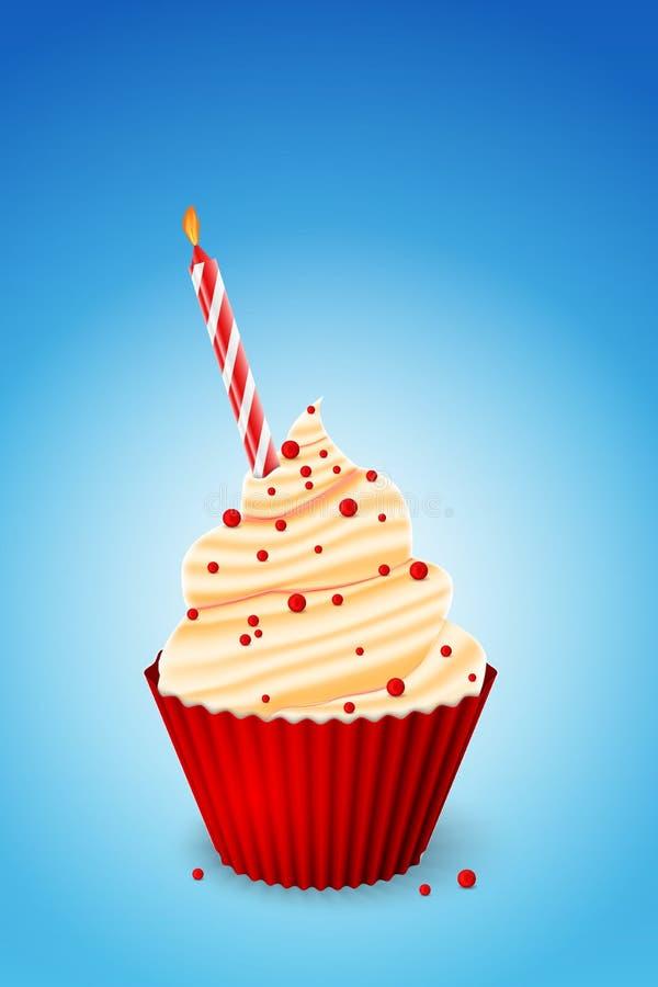 χαιρετισμός καρτών γενεθλίων cupcake ευτυχής απεικόνιση αποθεμάτων