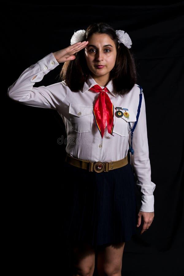 Χαιρετισμός κοριτσιών πρωτοπόρων στοκ φωτογραφία