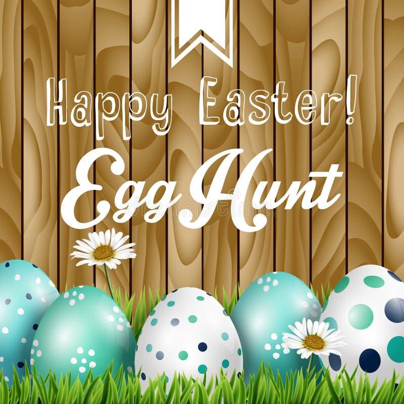 Χαιρετισμός Πάσχας, λουλούδια και χρωματισμένα αυγά στη χλόη στο ξύλινο υπόβαθρο διανυσματική απεικόνιση