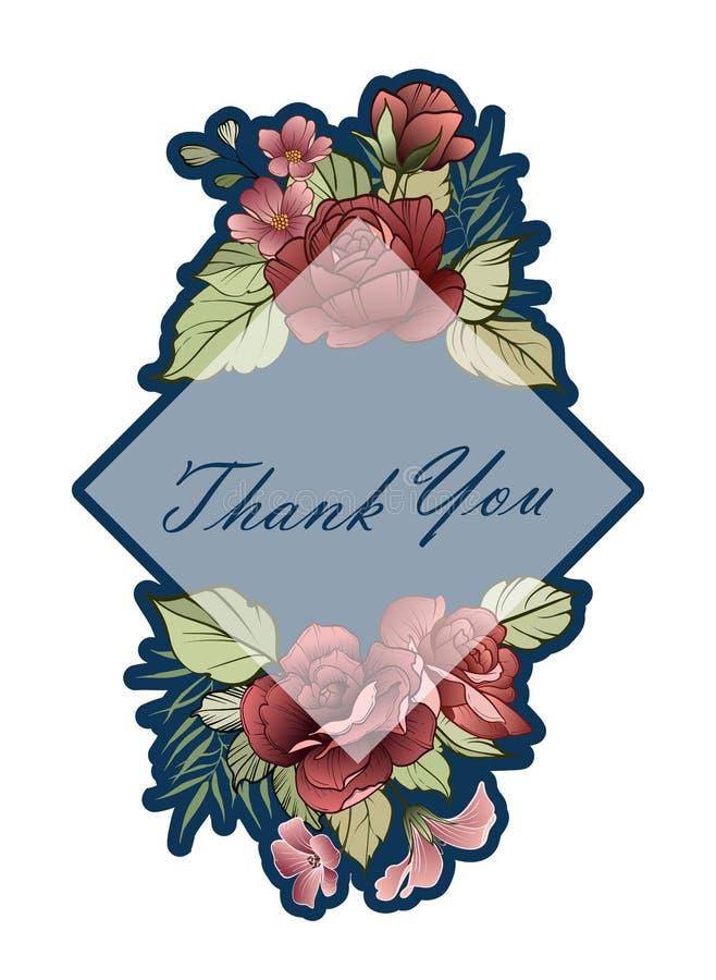 Χαιρετισμός πρασινάδων, σχέδιο προτύπων καρτών πρόσκλησης, ρόδινα λουλούδια διανυσματική απεικόνιση