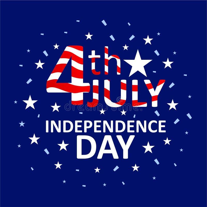 Χαιρετισμός της αμερικανικής ημέρας της ανεξαρτησίας της 4ης Ιουλίου απεικόνιση αποθεμάτων
