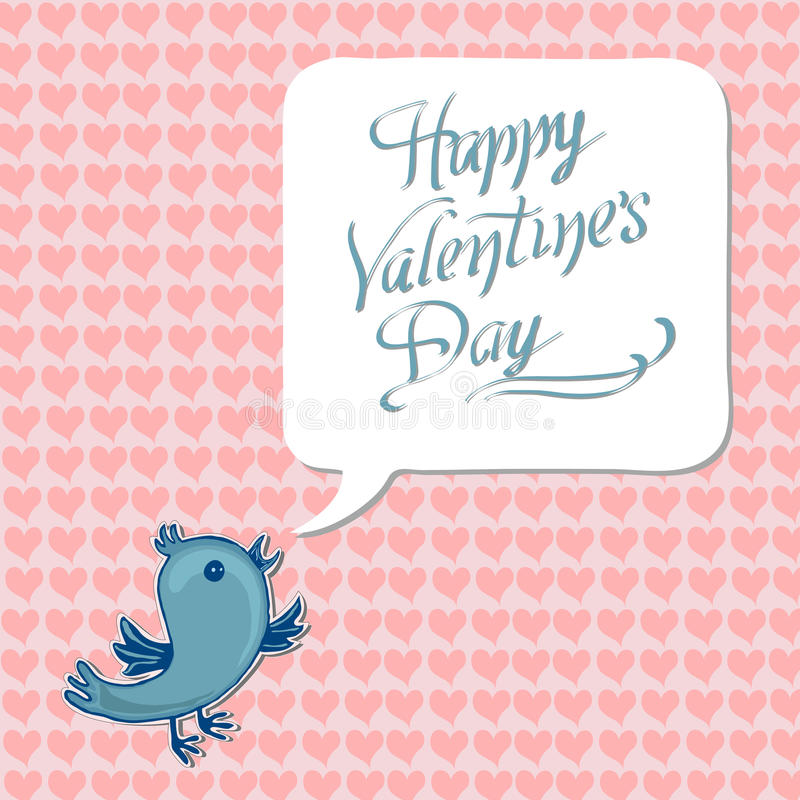 Χαιρετισμός της ευτυχούς ημέρας βαλεντίνων με το μπλε πουλί απεικόνιση αποθεμάτων