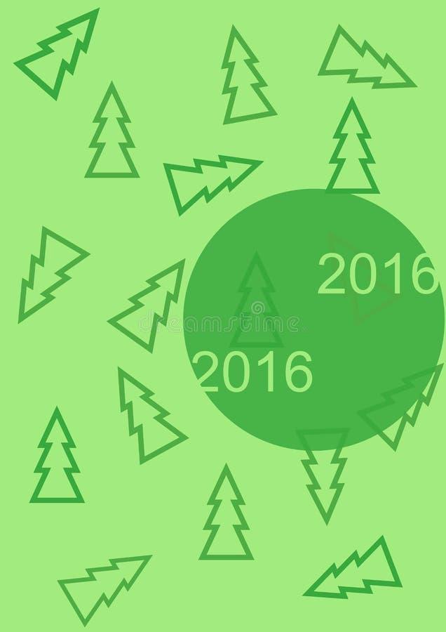 Χαιρετισμός της νέας κάρτας 2016 έτους με τα χριστουγεννιάτικα δέντρα απεικόνιση αποθεμάτων