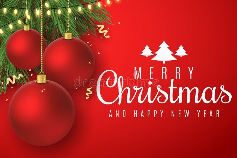 χαιρετισμός Χριστουγέννων καρτών Κόκκινες σφαίρες Χριστουγέννων στο δέντρο έλατου  Καμμένος χρυσή ελαφριά γιρλάντα Έμβλημα Ιστού απεικόνιση αποθεμάτων