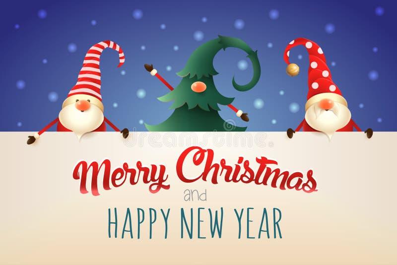 χαιρετισμός Χριστουγέννων καρτών Τρία στοιχειά Χριστουγέννων με την πινακίδα στο μπλε υπόβαθρο Ένα που κρύβεται στο χριστουγεννιά απεικόνιση αποθεμάτων