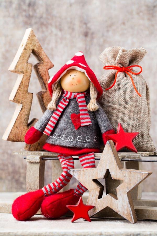 χαιρετισμός Χριστουγέννων καρτών Υπόβαθρο στοιχειών Noel Σύμβολο Χριστουγέννων στοκ φωτογραφίες