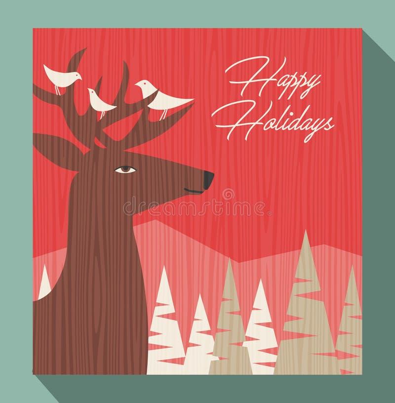 Χαιρετισμός Χριστουγέννων με τα ελάφια και τα πουλιά ελεύθερη απεικόνιση δικαιώματος