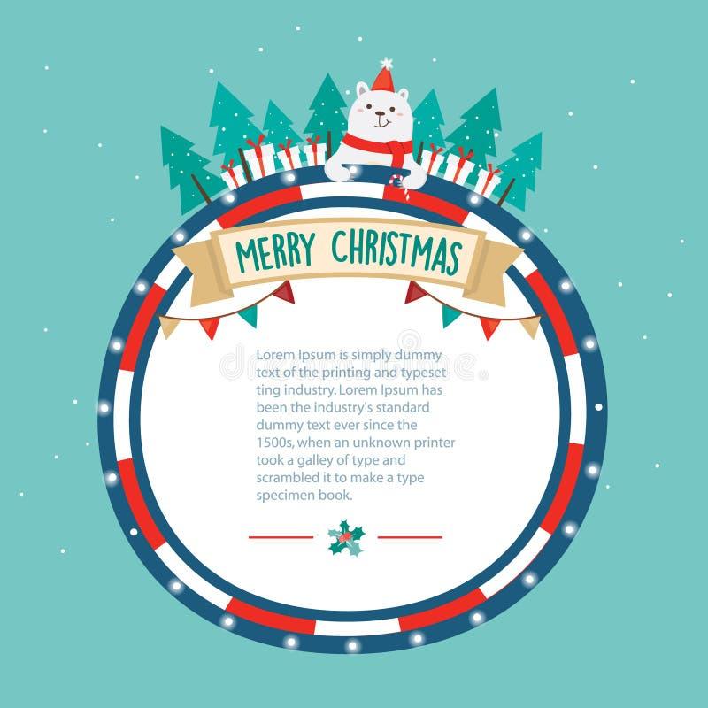 χαιρετισμός Χριστουγένν&ome Διακόσμηση Χριστουγέννων με χιονώδη στο υπόβαθρο Χριστουγέννων απεικόνιση αποθεμάτων