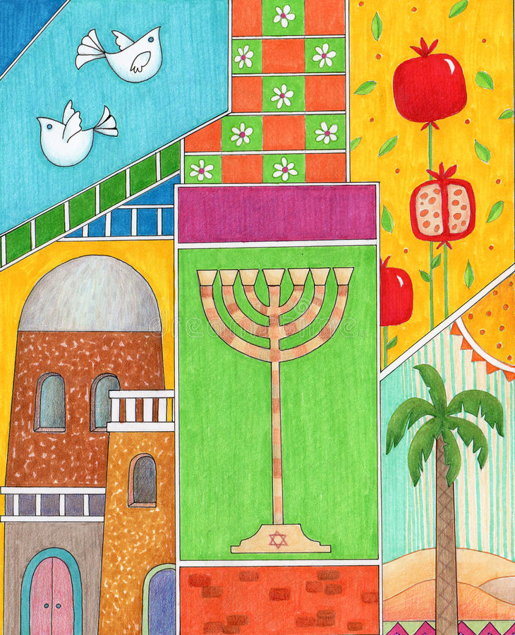 Χαιρετισμός Hashanah Rosh απεικόνιση αποθεμάτων