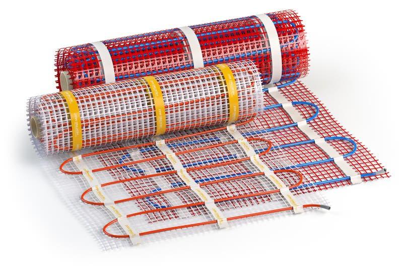 Χαλάκι ηλεκτρικό σύστημα θέρμανσης δαπέδου απομονωμένο σε λευκό Θερμαινόμενο θερμό δάπεδο Θέρμανση υποδαπέδου στοκ εικόνες