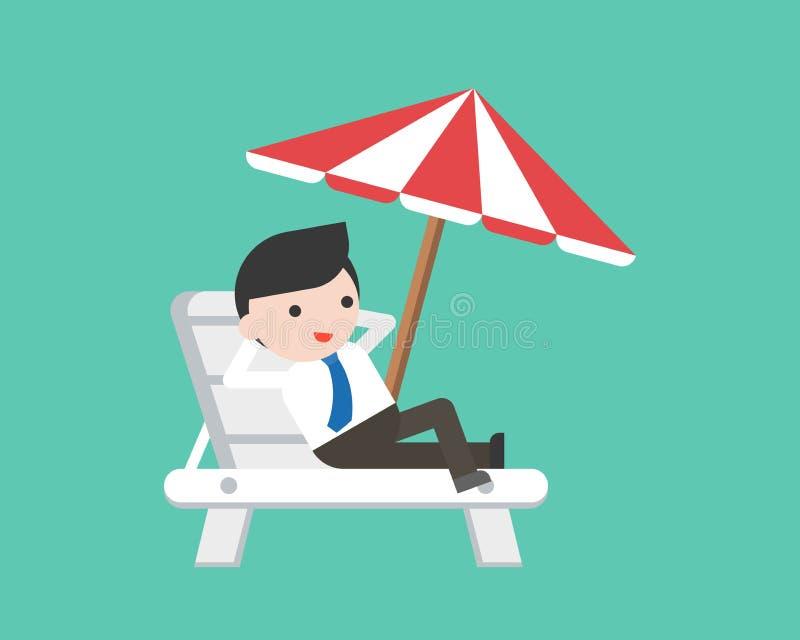 Χαλάρωση επιχειρηματιών στην καρέκλα παραλιών με την ομπρέλα διανυσματική απεικόνιση