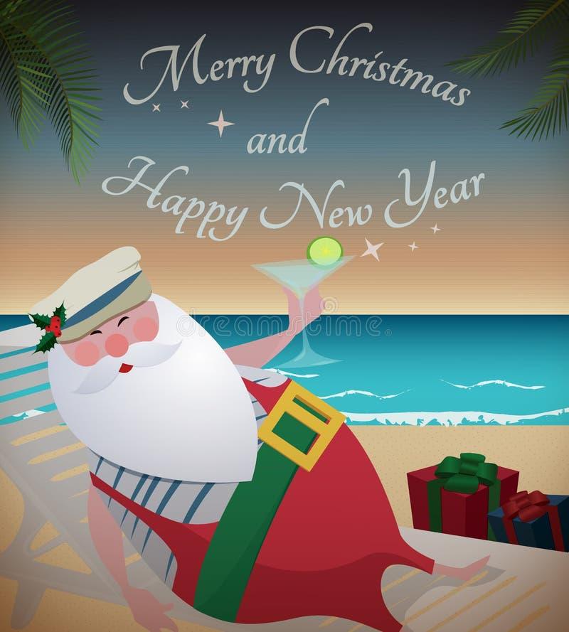 Χαλάρωση Santa στην τροπική παραλία απεικόνιση αποθεμάτων