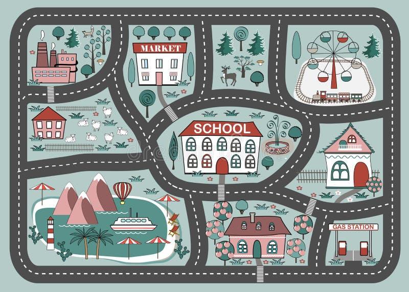 Χαλί παιχνιδιού για τη δραστηριότητα και την ψυχαγωγία παιδιών Τοπίο πόλεων κινούμενων σχεδίων διανυσματική απεικόνιση