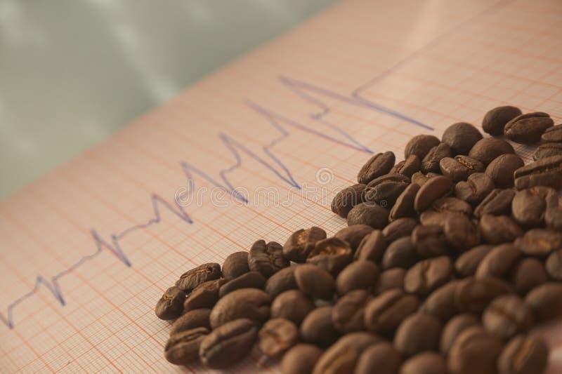 Χαλαρά ψημένα φασόλια καφέ σε μια επισήμανση ECG στοκ εικόνες