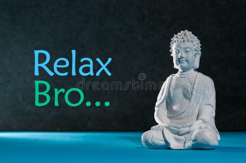 Χαλαρωμένα συνεδρίαση και ειδωλίων του Βούδα, που κάνουν το exersice γιόγκας Χαλαρώστε το bro - επιγραφή στοκ εικόνες