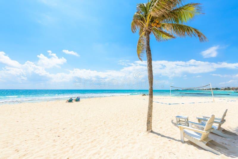 Χαλαρώνοντας στην καρέκλα στην παραλία παραδείσου και την πόλη στην καραϊβική ακτή Quintana Roo, Μεξικό στοκ εικόνα