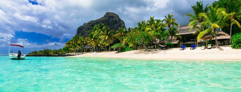 Χαλαρώνοντας τις τροπικές διακοπές - πανέμορφο νησί του Μαυρίκιου LE morne στοκ φωτογραφίες
