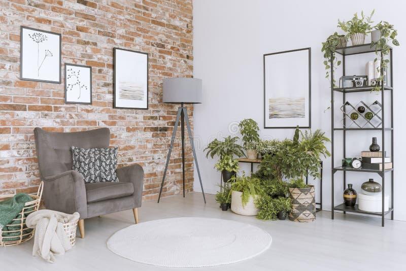 Χαλαρώστε το δωμάτιο με την γκρίζα πολυθρόνα στοκ εικόνες