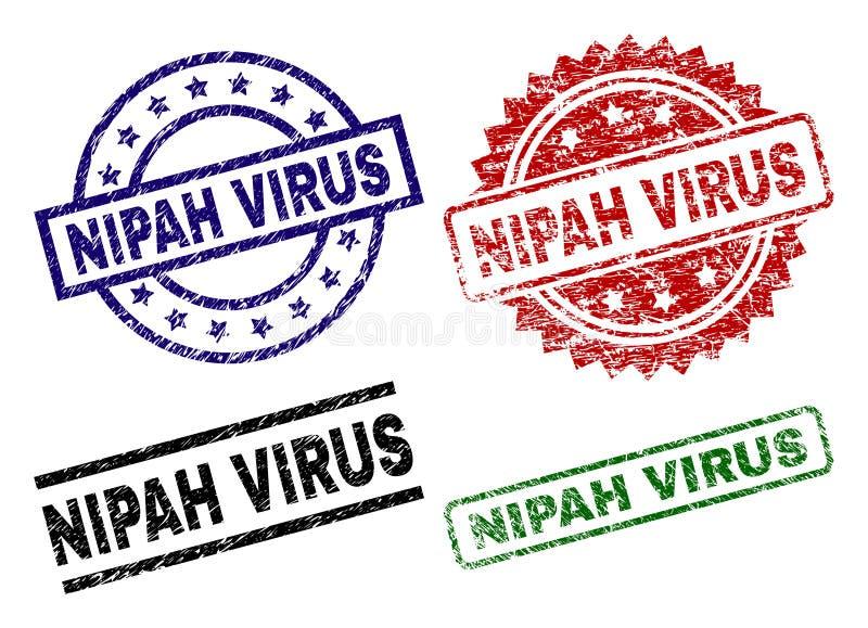 Χαλασμένες κατασκευασμένες σφραγίδες γραμματοσήμων ΙΏΝ NIPAH διανυσματική απεικόνιση