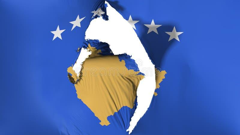 Χαλασμένη σημαία Κοσόβου απεικόνιση αποθεμάτων