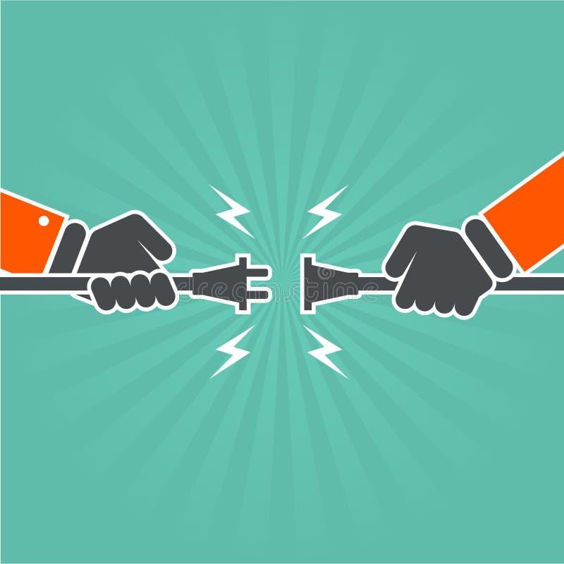Χαμένη σύνδεση - αποσυνδεμένο ηλεκτρικό σκοινί διανυσματική απεικόνιση