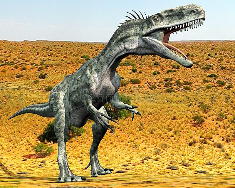 χαμένο έρημος monolophosaurus διανυσματική απεικόνιση