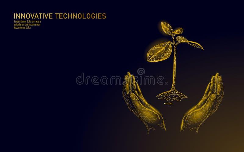 Χαμηλά πολυ χέρια που κρατούν το χρυσό νεαρό βλαστό δέντρων Αυξανόμενο εισοδηματικό κέρδος χρημάτων αποταμίευσης ευημερίας πλούτο ελεύθερη απεικόνιση δικαιώματος