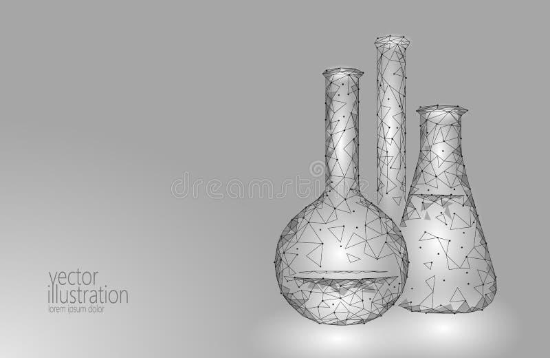 Χαμηλές πολυ φιάλες γυαλιού επιστήμης χημικές Μαγική γκριζόλευκη μονοχρωματική αφηρημένη έρευνα τριγώνων εξοπλισμού polygonal διανυσματική απεικόνιση