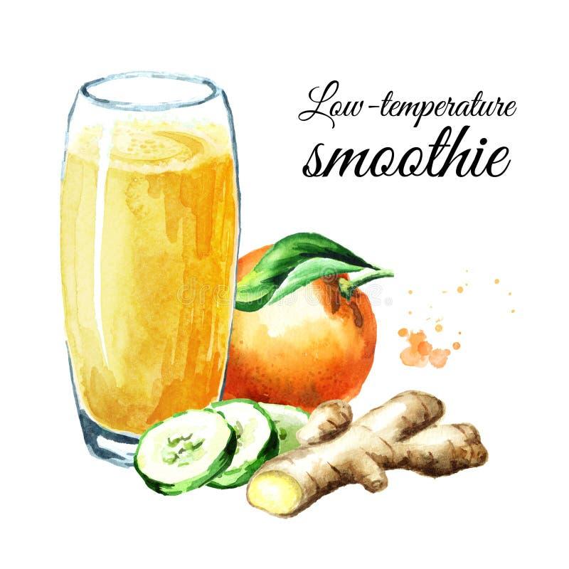 Χαμηλής θερμοκρασίας καταφερτζής με το πορτοκάλι, το αγγούρι και την πιπερόριζα Συρμένη χέρι απεικόνιση Watercolor, που απομονώνε στοκ φωτογραφία