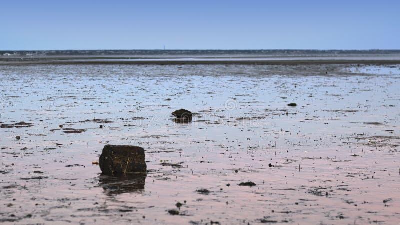 Χαμηλή παλίρροια στα επίπεδα λάσπης στοκ εικόνες