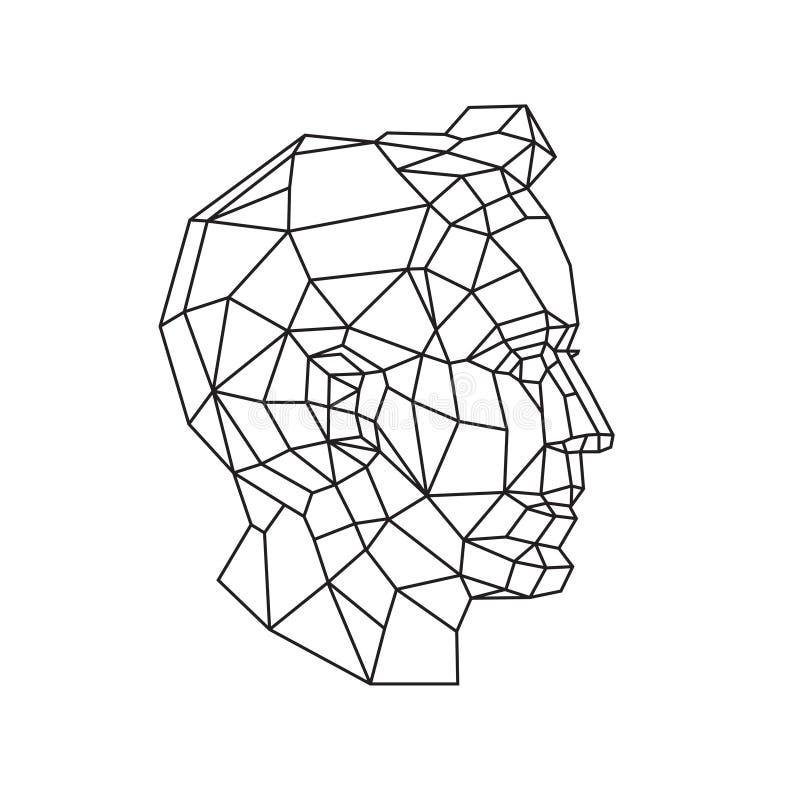 Χαμηλή πολυ απεικόνιση ενός ανθρώπινου κεφαλιού r Σχέδιο περιλήψεων r Υπόβαθρο, σύμβολο, έμβλημα για το εσωτερικό Επιχείρηση απεικόνιση αποθεμάτων
