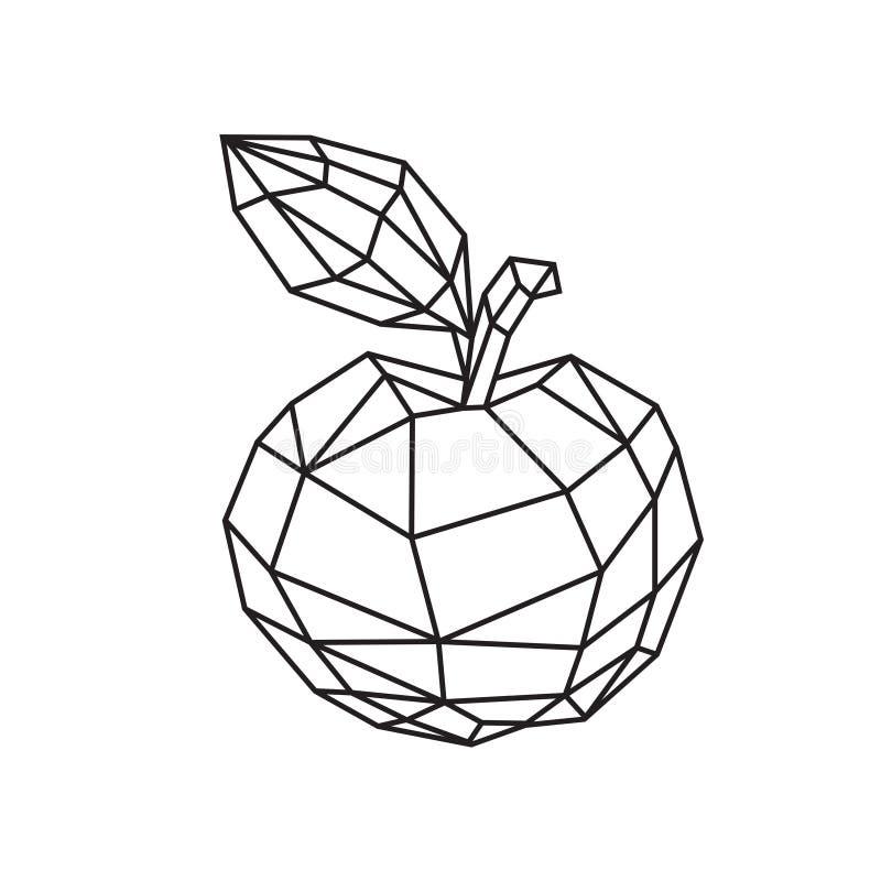 Χαμηλή πολυ απεικόνιση ενός νόστιμου μήλου r Σχέδιο περιλήψεων r Υπόβαθρο, σύμβολο, έμβλημα για το εσωτερικό ελεύθερη απεικόνιση δικαιώματος