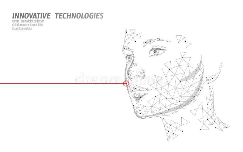 Χαμηλή πολυ θηλυκή επεξεργασία δερμάτων λέιζερ ανθρώπινου προσώπου Προσοχή σαλονιών ομορφιάς διαδικασίας αναζωογόνησης Cosmetolog διανυσματική απεικόνιση