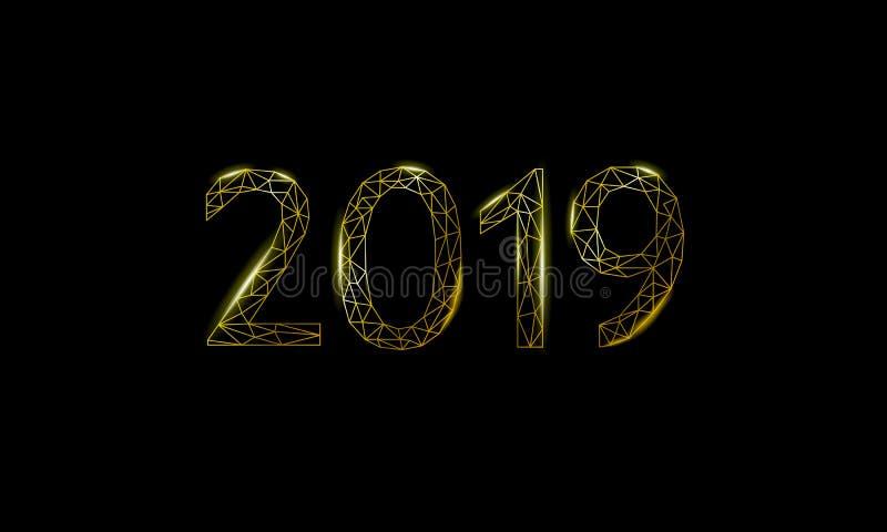 Χαμηλή πολυ τρισδιάστατη ευχετήρια κάρτα διακοπών αριθμού ημερομηνίας του 2019 Ο χρυσός μελαχροινός Μαύρος νυχτερινού ουρανού καλ διανυσματική απεικόνιση