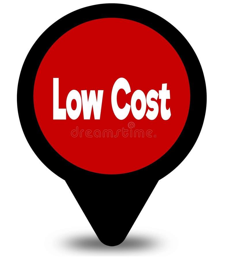ΧΑΜΗΛΟΤΕΡΟ κόστος στην κόκκινη απεικόνιση δεικτών θέσης ελεύθερη απεικόνιση δικαιώματος
