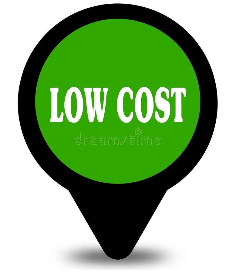 ΧΑΜΗΛΟΤΕΡΟ κόστος στον πράσινο δείκτη θέσης γραφικό διανυσματική απεικόνιση