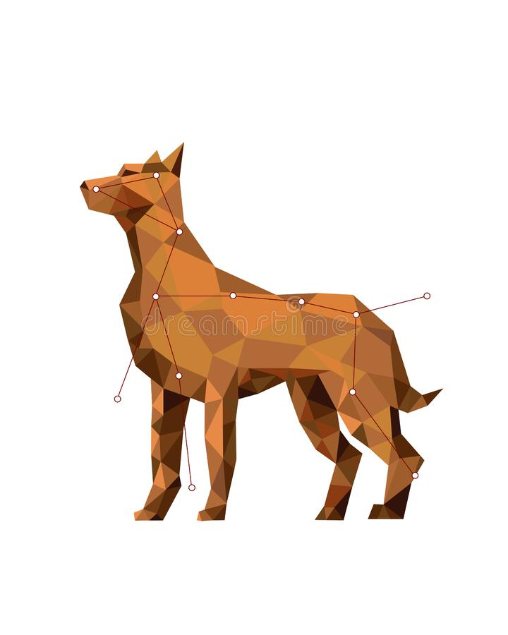 Χαμηλός-πολυ ζωηρόχρωμη τέχνη αριθμού του σκυλιού στο γεωμετρικό ύφος διανυσματική απεικόνιση