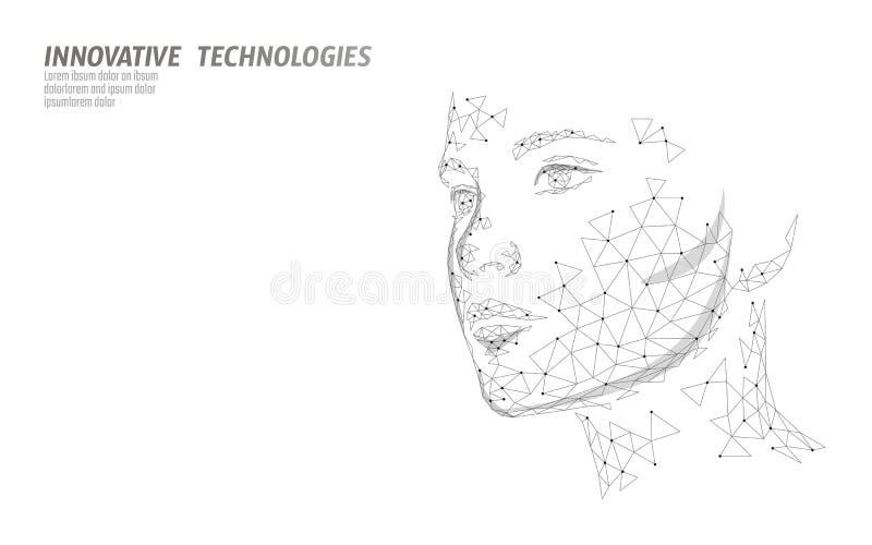 Χαμηλός πολυ θηλυκός βιομετρικός προσδιορισμός ανθρώπινου προσώπου Έννοια συστημάτων αναγνώρισης Τα προσωπικά στοιχεία εξασφαλίζο απεικόνιση αποθεμάτων