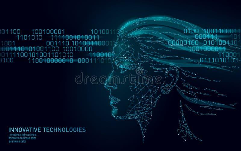 Χαμηλός πολυ θηλυκός βιομετρικός προσδιορισμός ανθρώπινου προσώπου Έννοια συστημάτων αναγνώρισης Τα προσωπικά στοιχεία εξασφαλίζο διανυσματική απεικόνιση