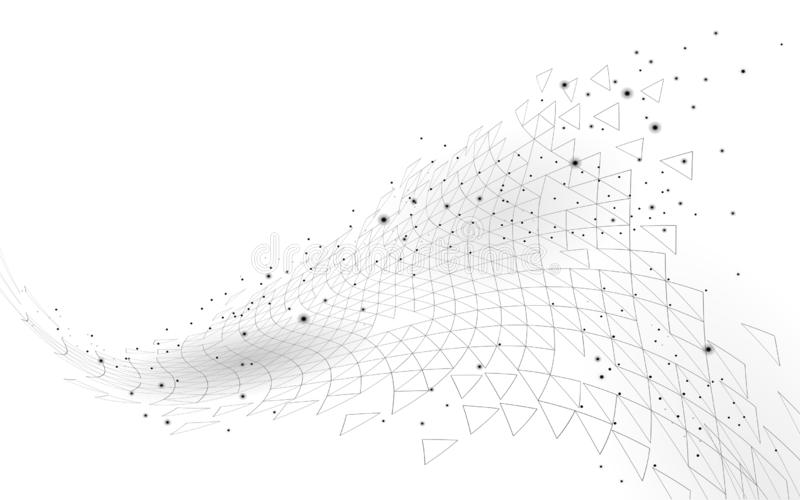 Χαμηλός πολυ τρισδιάστατος γεωμετρικός διαστημικός polygonal Καινοτόμος πολυμερής χημική δομή Γραφική παράσταση τριγώνων επιστήμη διανυσματική απεικόνιση